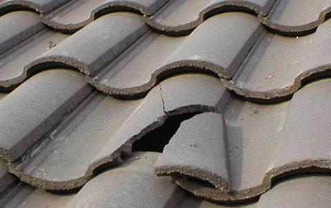 Broken terracotta roof